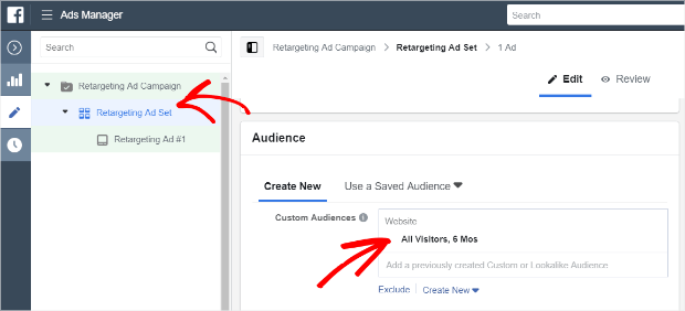 add custom audience to retargeting ad set