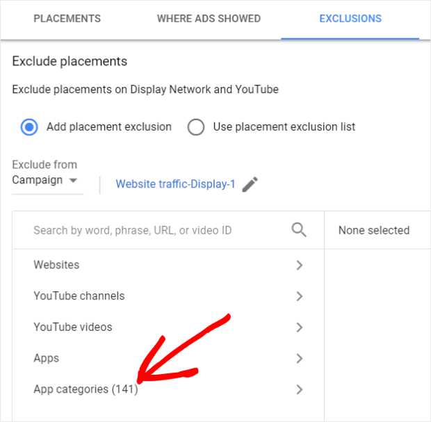 choose app categories in google ads