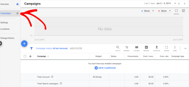 create a new campaign in google ads