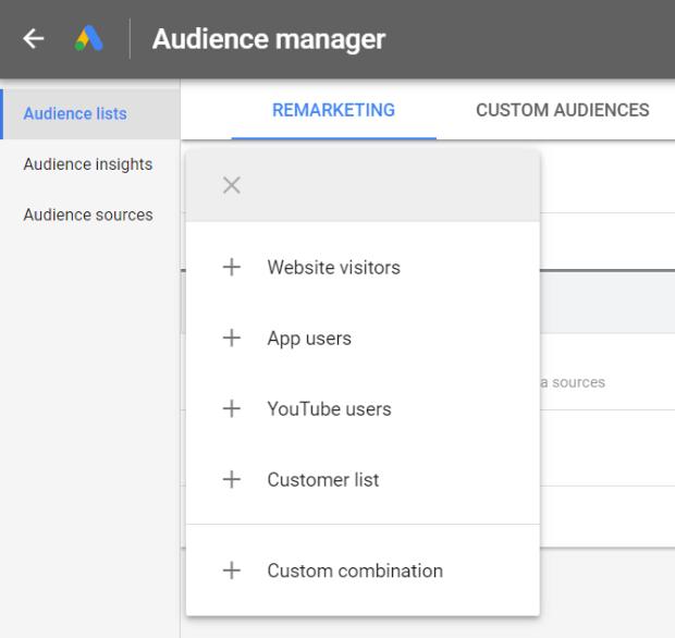 crie uma lista de remarketing nos anúncios do Google