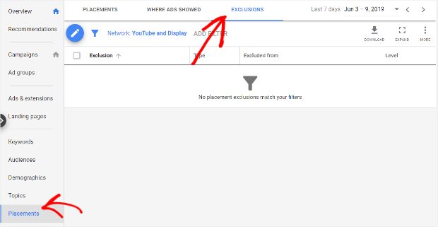 exclusions in google ads
