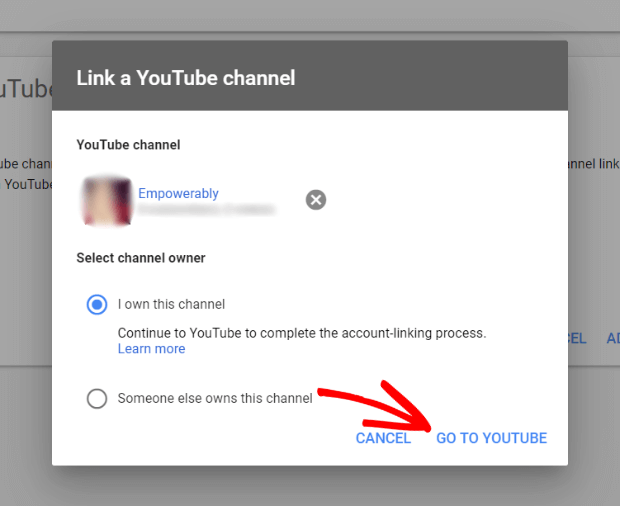 go to youtube to complete linking your accounts