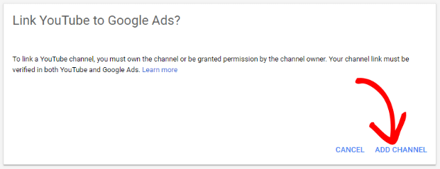 link youtube channel in google ads