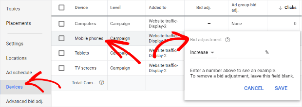 create a mobile bid adjustment