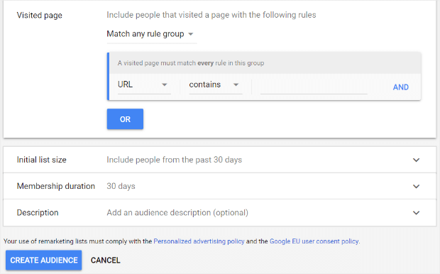 regras da lista de remarketing do google adwords