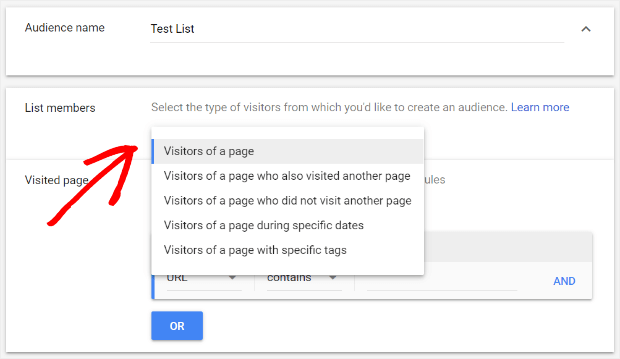 select remarketing list members in google ads