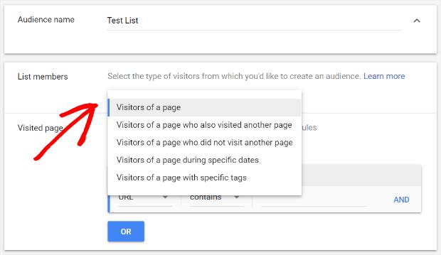 selecione membros da lista de remarketing nos anúncios do Google