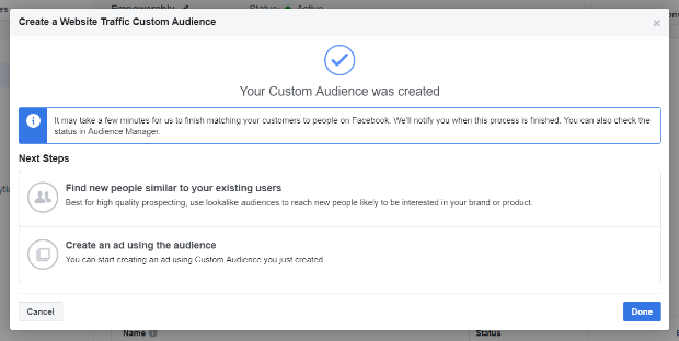 custom audience confirmation