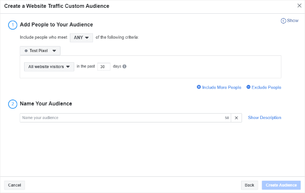 facebook website traffic audience