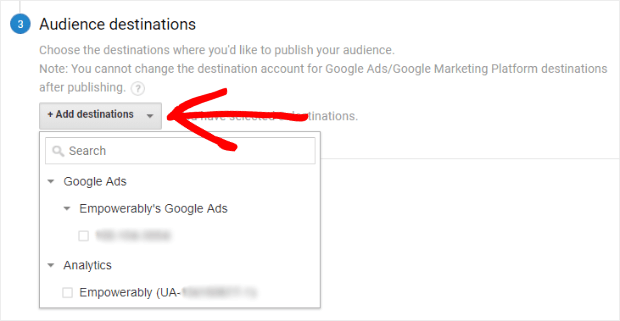 google analytics audience destinations