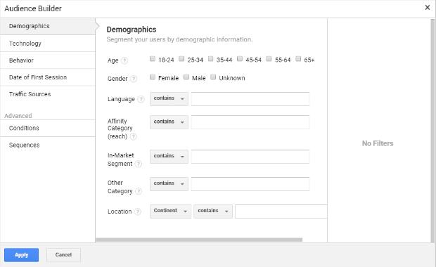 crie uma nova definição de público no google analytics