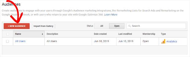 crie um novo público no google analytics