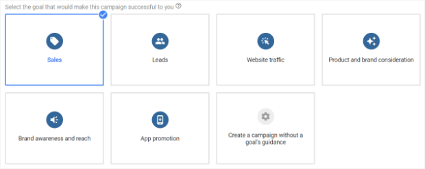 choose a goal for your google ads campaign
