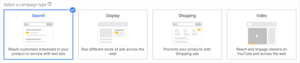 choose the search campaign type