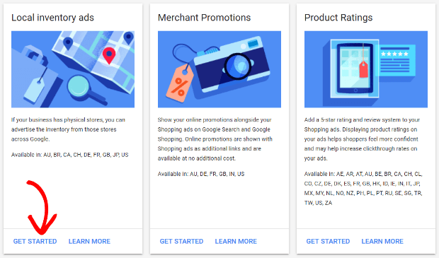 get started with local inventory ads in the merchant center