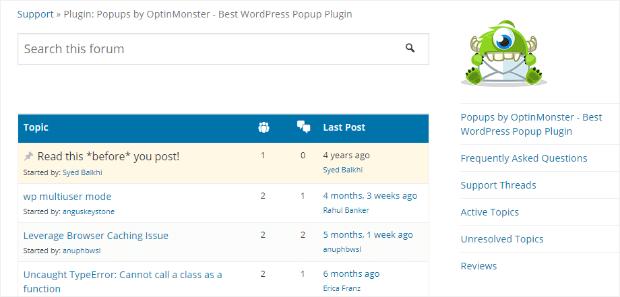 wordpress plugin support page