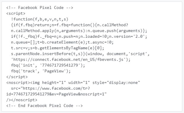 sample facebook pixel code