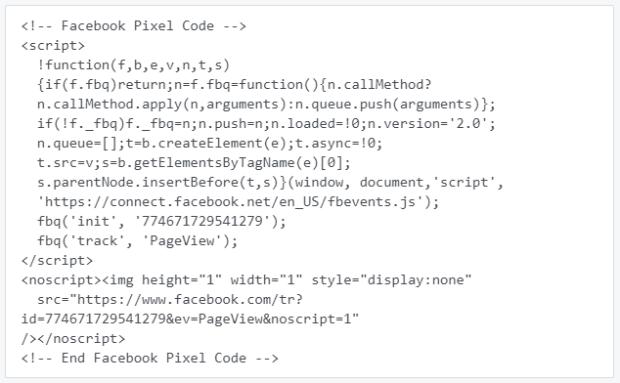 codice pixel di Facebook di esempio
