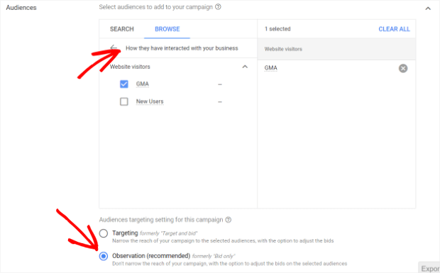 find the remarketing list you want to use