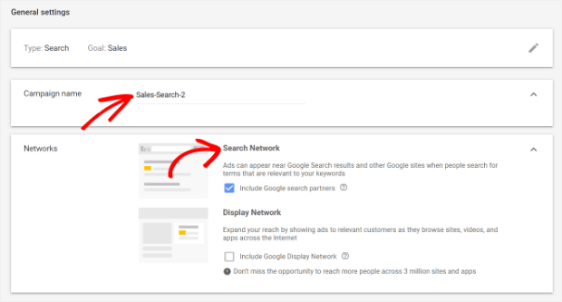 general settings for search ads