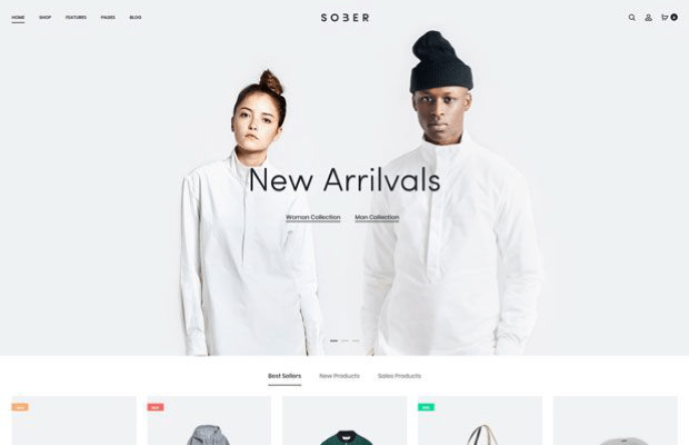 sober woocommerce template