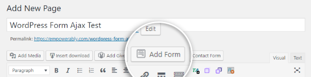 add form to wordpress page