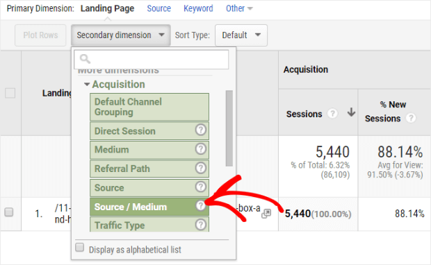 add source to landing page report
