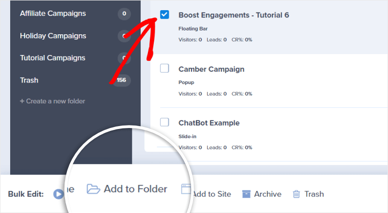 adding campaigns to folders