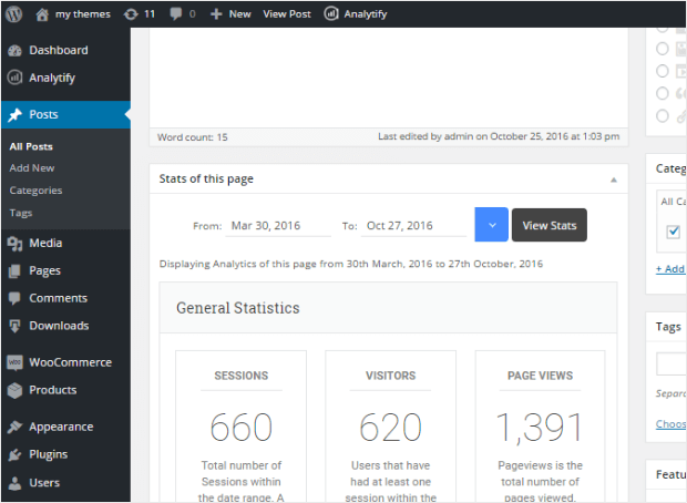 analytify post page-level analytics