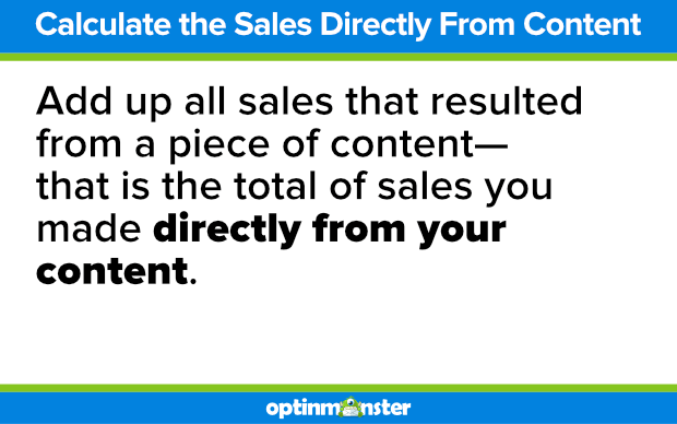 calculate sales directly from your content