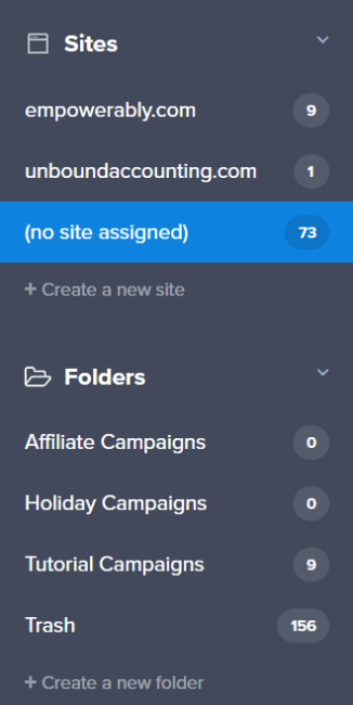 sites and folders list in the new campaign dashboard