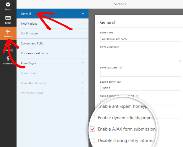 enable wordpress form ajax submission