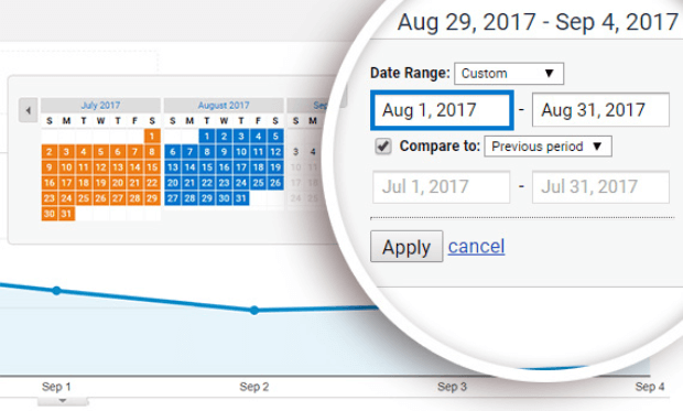 customize date range in google analytics