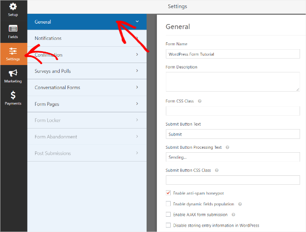 general contact form settings