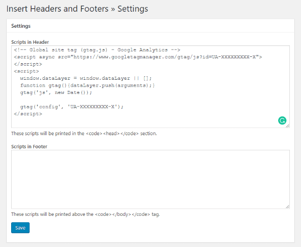 add google analytics tracking code to insert headers and footers