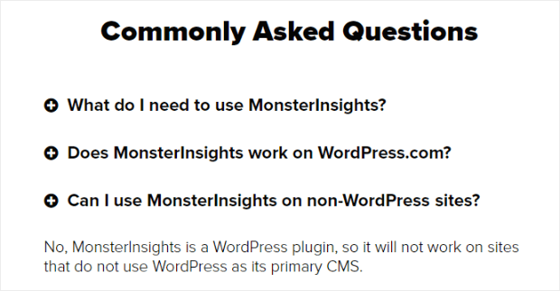 monsterinsights faq page