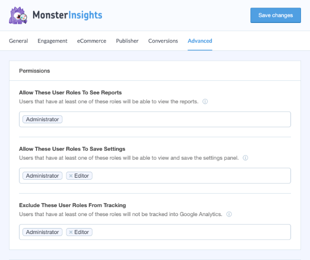 monsterinsights user roles