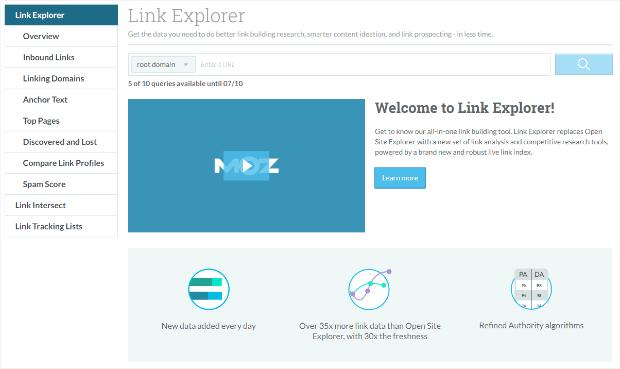 moz's link explorer