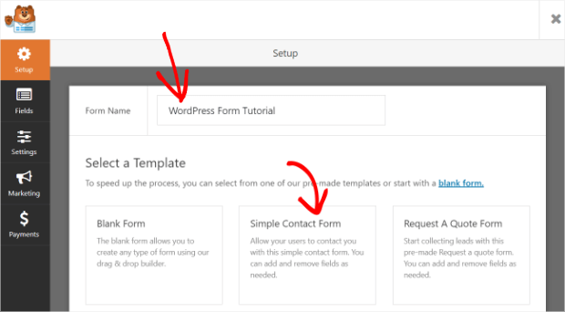 name your form and select the simple contact form template
