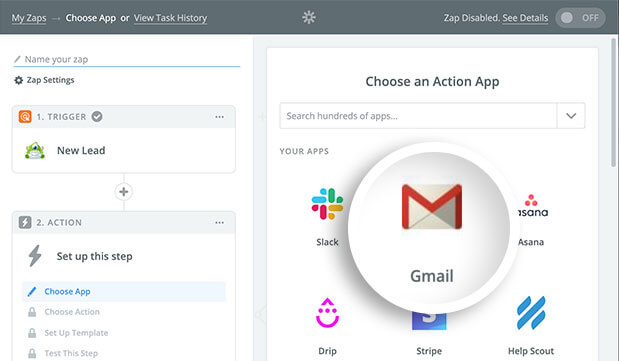 In Zapier select the Gmail action