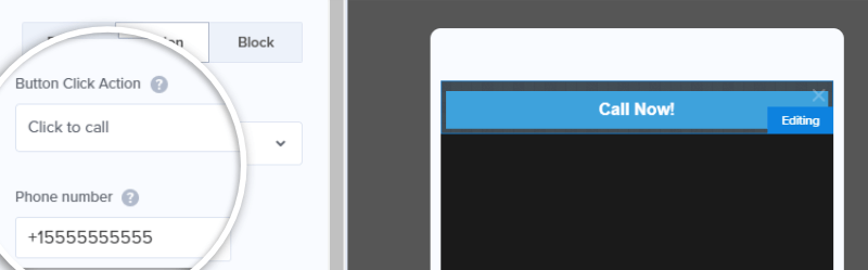 click-to-call using the mobile floating bar template