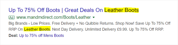 use relevant keywords in your ad copy