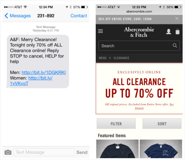 abercrombie & fitch sales promotion text