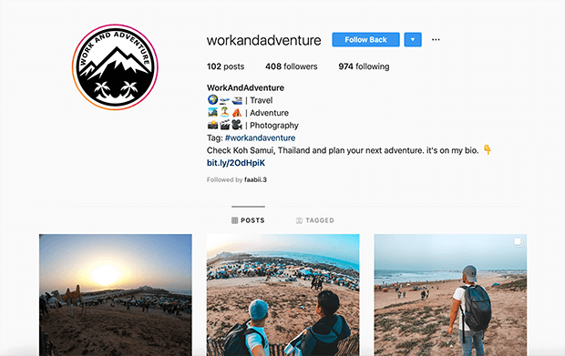 example affiliate business Instagram