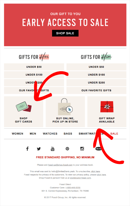 fossil holiday email footer