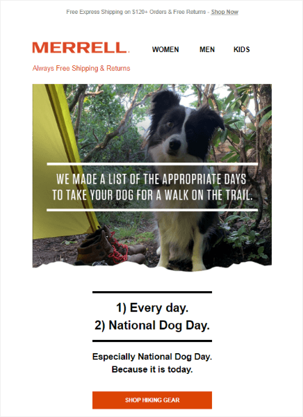 national dog day email marketing from merrell