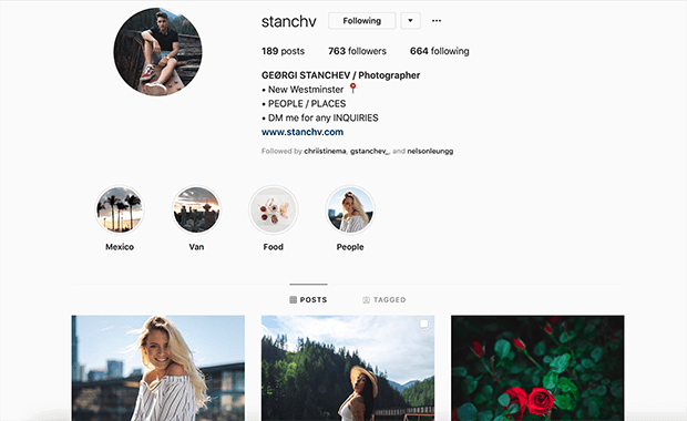 example photography business instagram