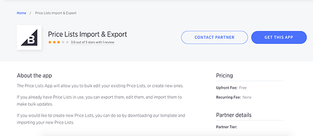 price lists import and exports