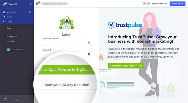 Log into OptinMonster or sign up for a free trial