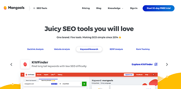 mangools keyword research tool for seo